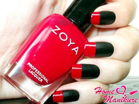 Дизайн черно красных ногтей