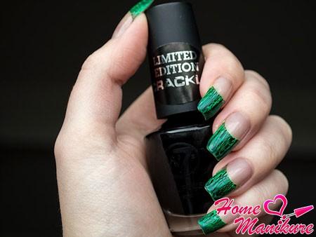 черно-зеленый кракелюровый френч