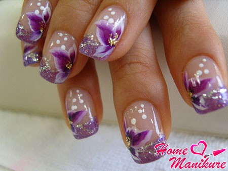 фиолетовый френч с цветочным декором