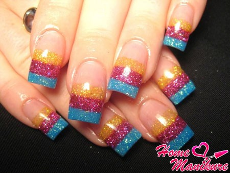 красивые квадратные ногти из глиттера
