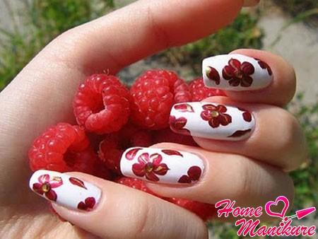 красные цветки на белом фоне