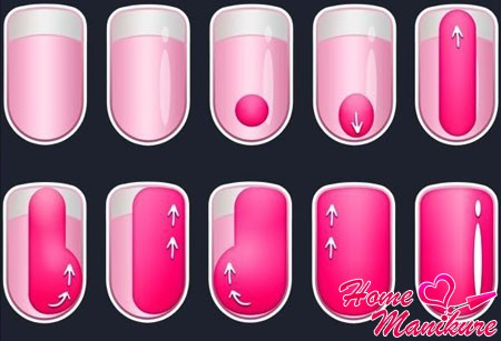 схема, как красиво и аккуратно накрасить ногти