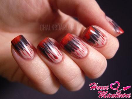 абстрактные узоры на ногтях иголкой