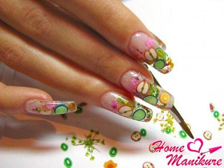 дизайн ногтей с декором фимо