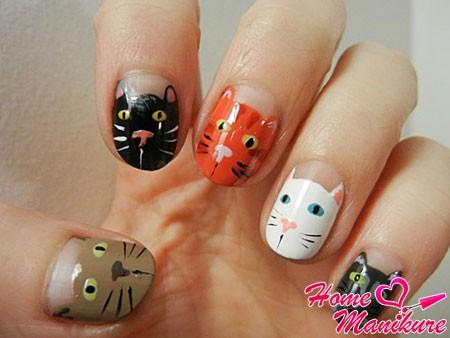 дизайн ногтей с мордочками кошек