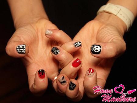 дизайн ногтей со зловещими рисунками