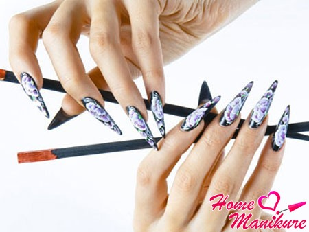 китайская роспись на черных ногтях