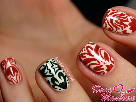 красивые узоры кисточкой на ногтях