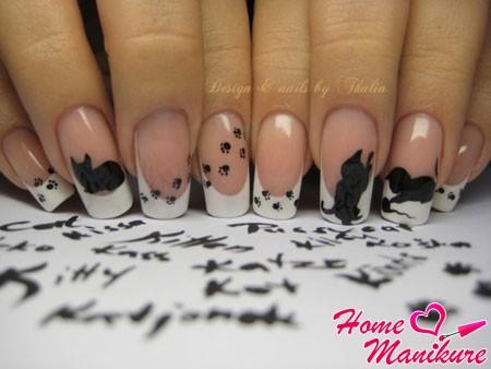 красивый дизайн ногтей с котятами
