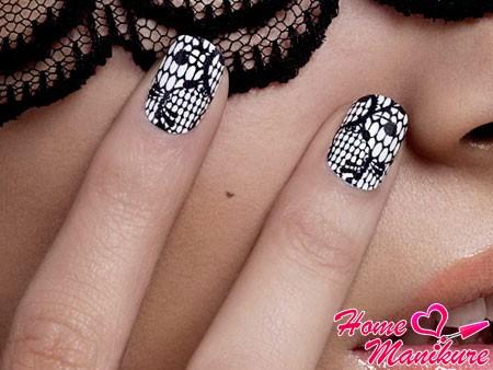 Нежный и элегантный кружевной дизайн ногтей