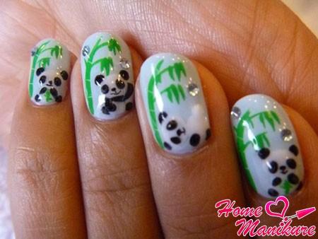оригинальный дизайн ногтей с пандами