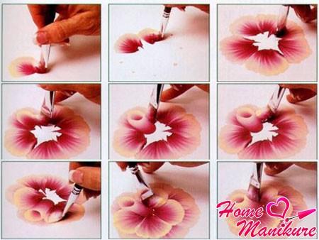 пошаговое рисование цветка в китайской технике