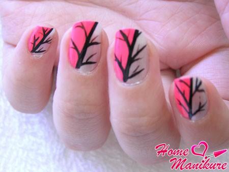 простые рисунки деревьев на ногтях