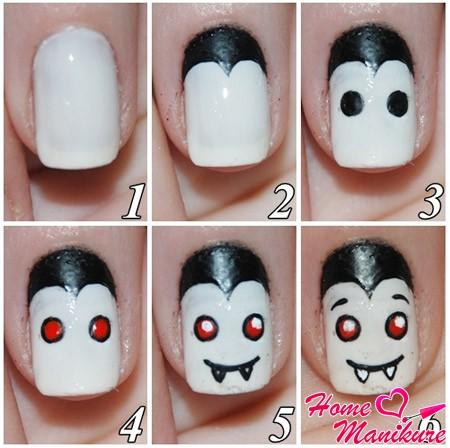 рисунок вампира на ногтях