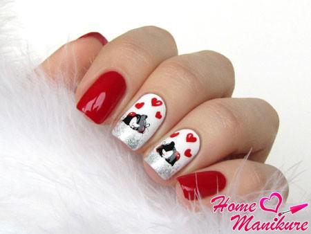 романтичный маникюр с кошками