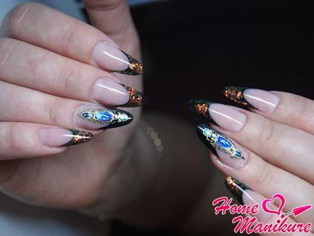 роскошный дизайн ногтей с жидкими камнями