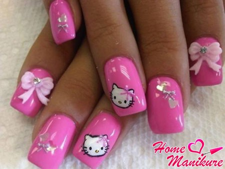 розовый дизайн ногтей в стиле hello kitty: homemanicure.ru/design/rozovyj-manikyur.html
