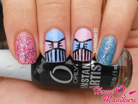 стильные и красивые рисунки бантиков на ногтях
