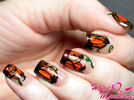 тематический дизайн ногтей с тыквами