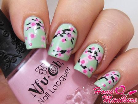 точечный рисунок сакуры на ногтях