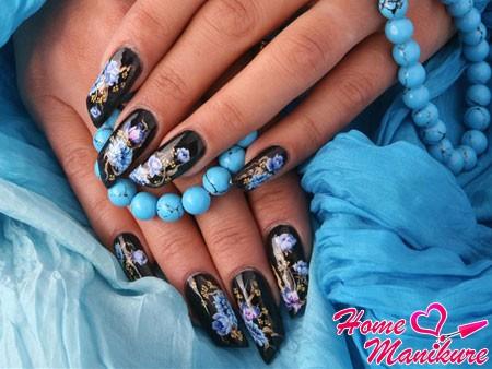великолепный фотодизайн на черных ногтях