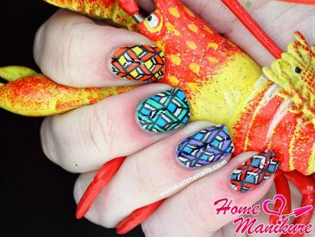 абстрактная роспись ногтей акриловыми красками