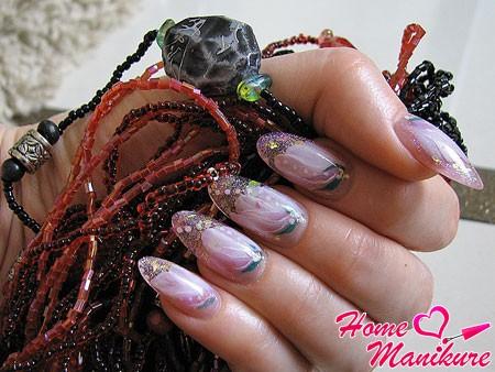 аквариумный дизайн ногтей с декоративной лепкой