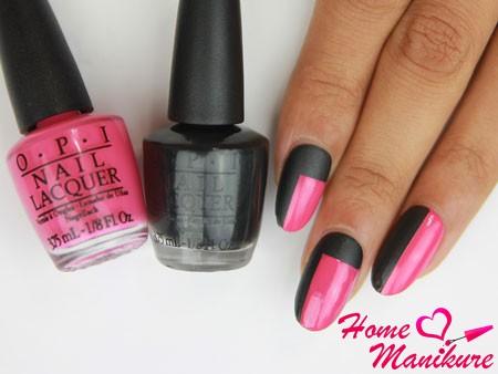 черно-розовый дизайн ногтей от OPI