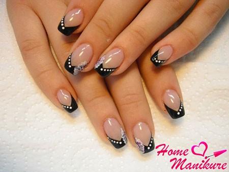 Дизайн нарощенных ногтей френч с рисунком