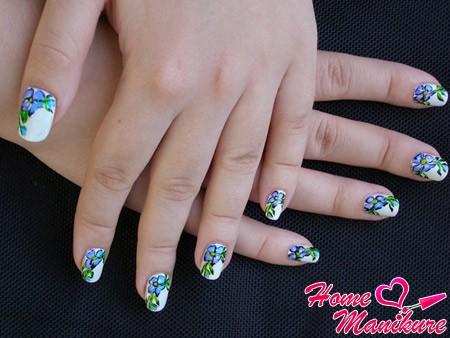 цветочные рисунки на ногтях акриловыми красками