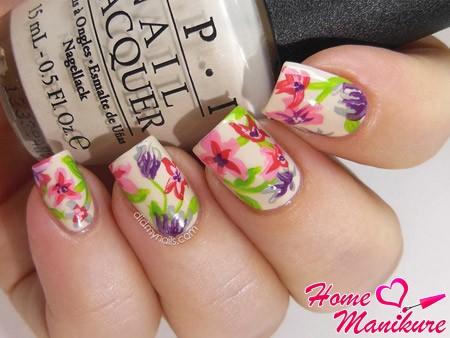 цветы на ногтях акриловыми красками