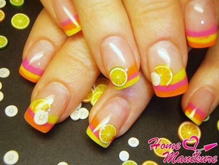 дизайн ногтей с фруктами фимо