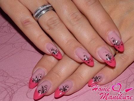 элегантный френч на нарощенных ногтях