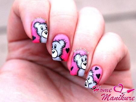 классные рисунки мишек на ногтях
