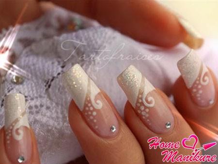 красивые нарощенные ногти невесты на свадьбу