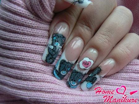 красивый дизайн нарощенных ногтей с мишками