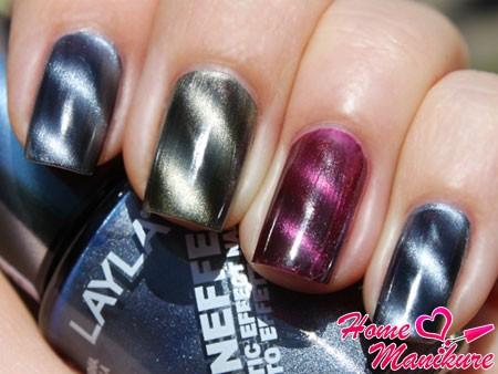 магнитный лак на ногтях разного цвета