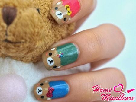 милый дизайн ногтей с медвежьими мордочками