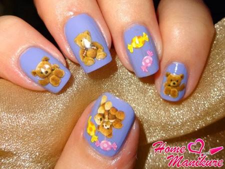 наклейки для ногтей с мишками