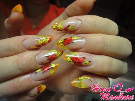 нарощенные ногти френч в осеннем стиле