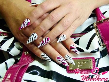 нарощенные ногти с рисунком зебры