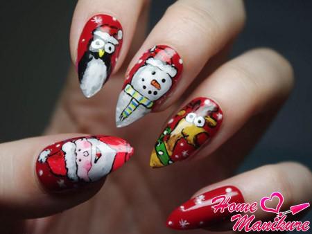 новогодняя художественная роспись ногтей