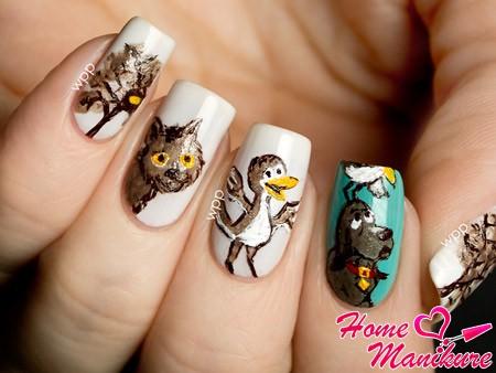 оригинальная мультипликационная роспись ногтей