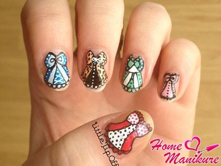оригинальный дизайн ногтей с корсетами