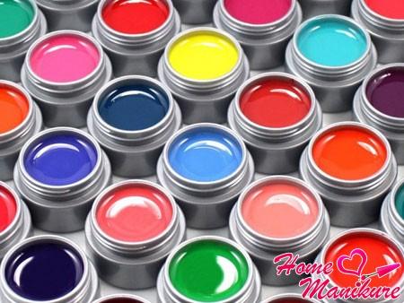 разнообразная гель-краска для ногтей