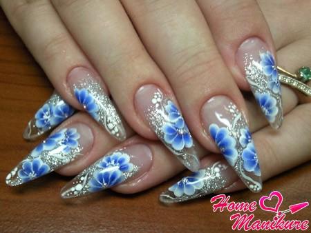 рисунки акриловыми красками на нарощенных ногтях