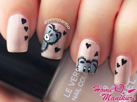 романтичный маникюр с мишками