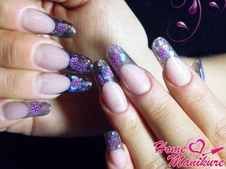 роскошные наращенные ногти со слюдой и фимо
