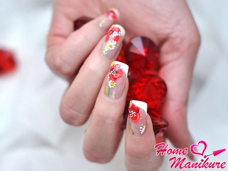 роскошный дизайн нарощенных ногтей с цветами
