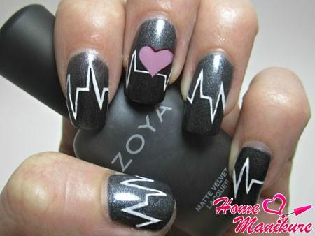 серый пульсирующий дизайн ногтей
